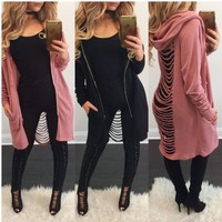 Women's Fashion Jacket Sexy Hats Zippers Windbreaker [163277078554]