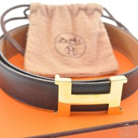 Authentic HERMES Leather Logo Belt Black #2094