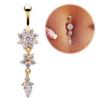 Crystal Dangle Flower Belly Button Ring - Gold Bar