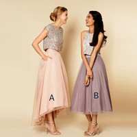 Chic Pink Maxi Skirts 2016 A Line Pockets High Low Floor Length Skirts For Women Organza Outside Satin Inside Long Skirts