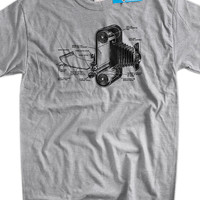 Camera Photography Gifts For Photographer Vintage Antique Film Camera Printed on a New Screen Printed T-Shirt Mens Ladies Womens Youth Kids