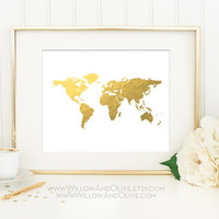 WORLD MAP Faux Gold Foil Art Print - Gold World Map - Gold Map Art - Travel Decor - White & Gold - Home Office Wall Art - Minimalist Art