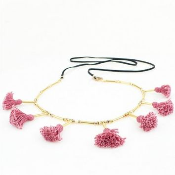 Pink Tassel Necklace on Leather