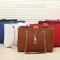 """Yves Saint Laurent YSL"" Women Temperament Simple Fashion Metal Chain Single Shoulder Bag Handbag"