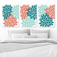 Teal Aqua Coral Wall Art, Flower Bedroom Canvas or Prints Bathroom Decor, Flower Wall Art, Flower Burst Dahlia, Set of 3 Flower Pictures