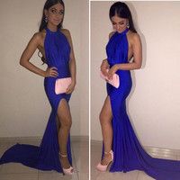 New Arrival Glamorous Blue Stain Halter Fashion Prom Dresses Vestidos De Baile Sexy High-Low Mermaid Prom Dresses 2016 Hot Sale