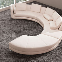 A94 - White Leather Sectional Sofa Set