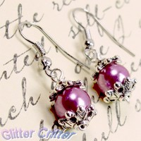 Deep Pink Glass Pearl Earrings Silver Plated Wire Wrap Hypoallergenic