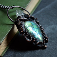 Green Blue Yellow Labradorite with Copper Scale Texture and Quartz Crystal | Crystal Necklace | Gemstone Necklace | Antique Copper