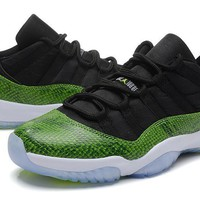 AIR JORDAN 11 Black&Green Basketball Shoes LOW-Top Sneakers For Men