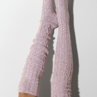 Ballet Pink Marled Cable Knit Thigh High Socks