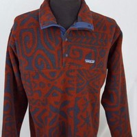 Vintage Patagonia Aztec Tribal Southwest Print Red Snap T Fleece Sweater Size M