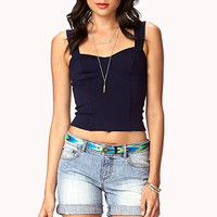 FOREVER 21 Distressed Denim Shorts w/ Woven Belt Light Denim