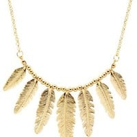 Gold Golden Feather Collar Necklace by Charlotte Russe