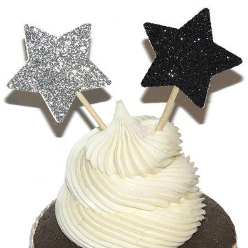 Glitter Star Cupcake Toppers - New Years Eve Party Decorations - 12 Star Food Picks - custom colors