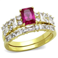 Radiant Ruby CZ Gold Stainless Steel Wedding Ring Set
