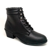 Women's Black Color Faux Leather Lace Up Boot