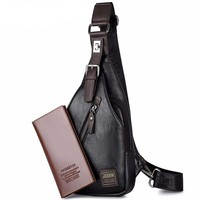 JACKKEVIN Brand Leather Chest Bag with Anti-theft Magnetic Clasp