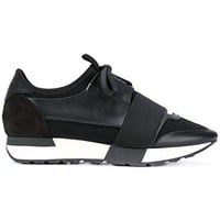 Balenciaga Women's 500584W0YXS1000 Black Leather Sneakers