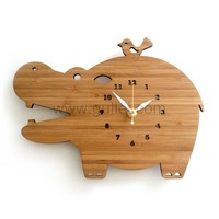 Cute hippo Housewarming Bamboo Wall Clock Gift for Newly Weds