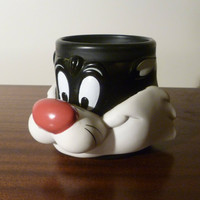 Vintage Large Sylvester Cat Plastic Mug from 1992 / Sylvester Cat Plastic Looney Tunes Mug / Warner Bros