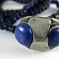 Vintage Handcrafted Lapis Ring on Glass Bead Necklace