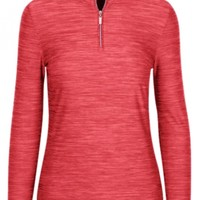 Greg Norman Ladies & Plus Size L/S Heathered 1/4-Zip Mock Golf Shirts - ESSENTIALS (Assorted Colors)