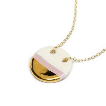 circle necklace in blush pink