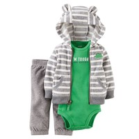 Carter's Stripe Hooded Fleece Cardigan Set - Baby Boy, Size: