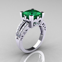 French Vintage 14K White Gold 3.8 Carat Princess Emerald Diamond Solitaire Ring R222-WGDEM