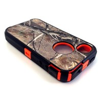 Hunting Tree Camouflage Grass Camo Case for Iphone 4 4S Orange