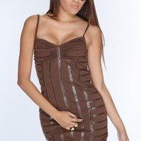 Brown Faux Leather Trim Sexy Party Dress @ Amiclubwear sexy dresses,sexy dress,prom dress,summer dress,spring dress,prom gowns,teens dresses,sexy party wear,women's cocktail dresses,ball dresses,sun dresses,trendy dresses,sweater dresses,teen clothing,eve