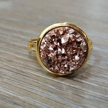Druzy Ring- Rose Gold drusy Gold tone druzy ring