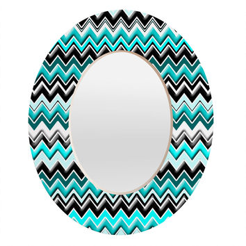 Madart Inc. Turquoise Black White Chevron Oval Mirror