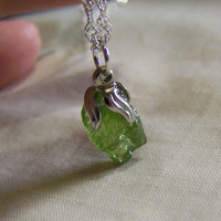 Peridot Rough Gemstone Sterling Silver Necklace