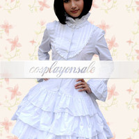 White Cotton Long Sleeves Multi-Layer Ruffled Sweet Lolita Dress [T110599] - $80.00 : Cosplay, Cosplay Costumes, Lolita Dress, Sweet Lolita