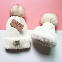 UGG Winter Classic Popular Women Men Velvet Warm Knit Hat Cap White