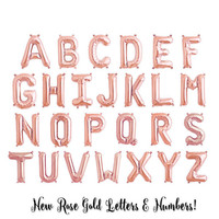 "Rose Gold 16"" Letter Balloons - NEW!! - Spell Any Name or Phrase - 16 Inch Foil Mylar Balloon (Hashtag + Ampersand available!)"