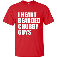 I Heart Bearded Chubby Guys Hilarious Graphic Tee Duck Dynasty Fans Unisex to 4XL