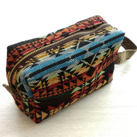 Cotton Boxy Bag, Navajo Southwestern Style, Cute pencil case, Toiletry Bag, Dopp kit ,Travel shaving kit bag, Cosmetic Pouch, Makeup Bag