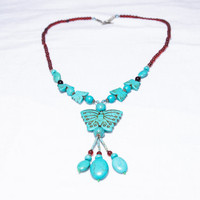Butterfly- Tibetan Turquoise- Enchanted Fairy Necklace- Wisdom Turquoise Power