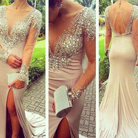 Sheer Scoop Neck Mermaid Sexy Split Slit Nude Prom Dress See Through Celebrity Party Gown Long Sleeves Evening Dresses