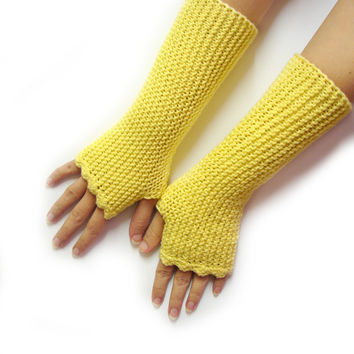 Soft yellow fingerless mittens, handknitted in acrylic, texting gloves, seamless handknit soft armwarmers, choose your color