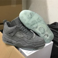 KAWS x Air Jordan 4 Retro Cool Grey Basketball Shoes 930155-003 retro 4 VI Glow In The Dark grey suede shoes for men Sports Sneakers
