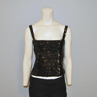 Vintage 1970's Back Sequined Tube Top with Straps Smocked Disco Sparkly Stretchy Elastic Shirt Tank Top Sequins Size Large Retro Club