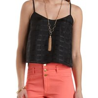 Organza Plaid Crop Top by Charlotte Russe