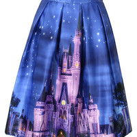 Vintage Style Blue Printed Midi Pleated Skirt