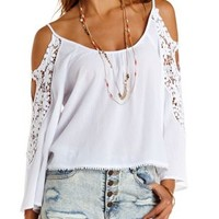 White Crochet-Trim Cold Shoulder Top by Charlotte Russe