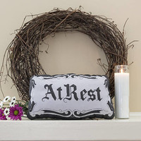 At Rest - Casket Plate Inspired Mini Pillow - Handmade Plush Throw Pillow - Horror Inspired Home Decor  - Killin Me Softly