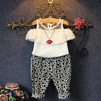 2PCS Baby Toddler Girls Kids Clothes Summer Cute Fashion Lace Floral Tops + Check Pants Outfits Brief New Clothes Set 2 3 4 5 6Y